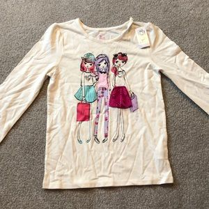 Girls white textured long sleeve t-shirt